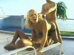 Nice blonde shemale sandwiched between man and woman