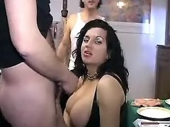 Cute busty shemale with many other people in sex party