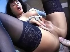 Lewd ts lies down on her back and gets hard dick in ass