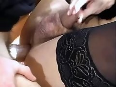 Ts bitch in black outfit fucked hard in armchair