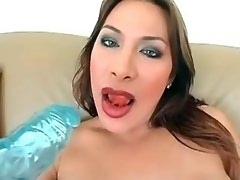 Chick with dick gets big dildo in her mouth n ass