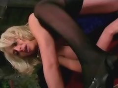 Man fucks cute blonde shemale and cums on her breast