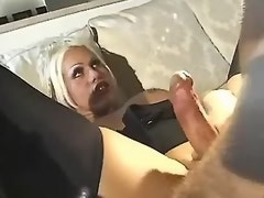 VIP tranny slut in high boots fucks