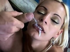 Blonde shemale fucks guy on stairs and gets facial