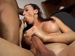 Brunette shemale sucking cock with big pleasure
