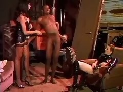 Latex shemale in extreme threesome
