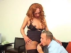 Redhead busty shemale gets cool ass fuck on chair