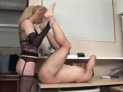 Shemale fucks man on table and cums