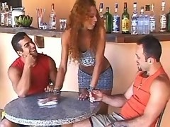 Two guys screw transsexual waitress