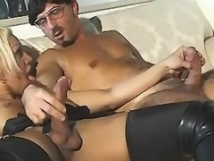 Shemale in high boots jumps on cock