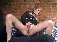 Sexy girl and tranny in kinky outfits please two guys