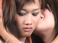 Two shy asian shemales suck by turn