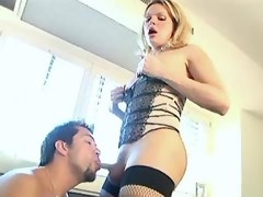 Blonde shemale and guy suck by turn