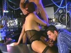Sexy nice shemale enjoy orgy in bar