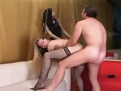 Amazing shemale in stockings fucked