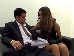 Beautyiful secretary shemale sucks fat bosses cock