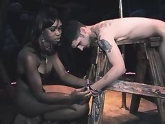 Small black shemale humiliates to slave bound chap