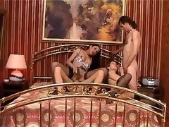 Asian tranny fucking with gal and men in oral orgy