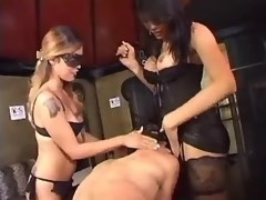 Beautiful tall shemale and slave girl dominate guy