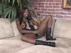 Very beautiful ebony tranny fucks bald guy on sofa