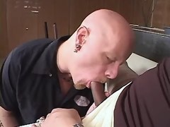 Bald bloke does blowjob to large beautiful shemale