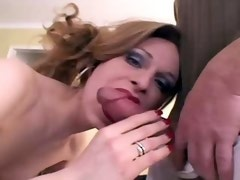 Longhaired charming shemale has oral fun with two guys