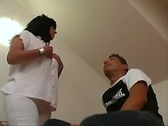 Guy and chesty mature suck black shemales cock