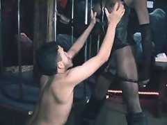 Black shemale domme humiliates to slave bound chap
