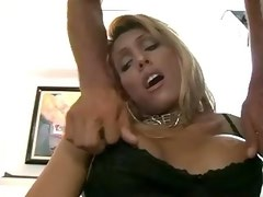 Erotic blond TS gets anal pleasure in diff poses