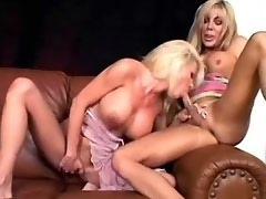 Sexy shemale licks pussy of blonde on leather sofa