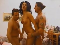 Hot shemale floozie gets cumload in threesome orgy