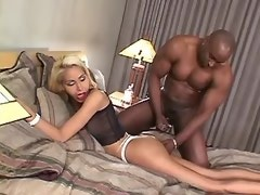 Huge black cock penetrates in tight shemales hole