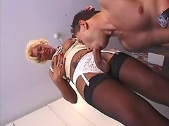 Lustful shemale in stockings fucks dude in mouth