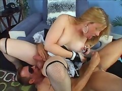 Bloke licks and sucks balls to blond busty shemale