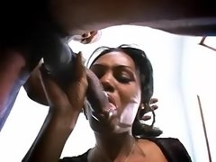 Hot ebony tranny does perfect blowjob to black guy