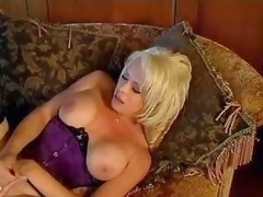 Blonde shemale hard drilled on sofa