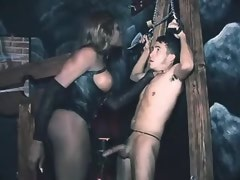 Ebony shemale domme humiliates to slave bound chap