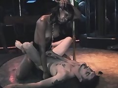 Slave guy fucked by small ebony shemale and jizzes