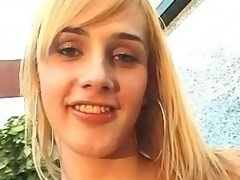 Blonde shemale seduces dude outdoor