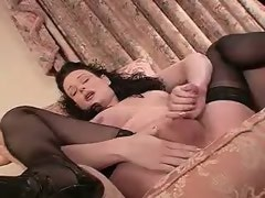 Luxurious tranny flashes and rubbes yummy cock and jizz