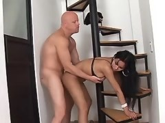 Cockloving latina tranny fucked by dude n gets cum
