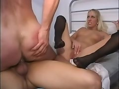 Bald bloke assfucked by blond shemale in threesome