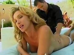 Gorgeous blonde shemale sucks cock