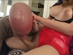 Bald bloke sucks asian tranny in leather jackboots