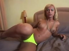 Sexy tranny shows off her hard dick