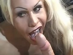 Luxurious platinum blond TS sucking