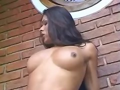 Beautiful busty shemale rides cock