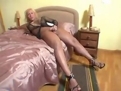 Lonely blonde shemale jizz in hotel